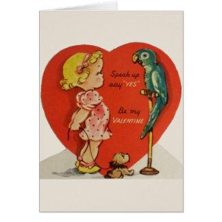 Carte de voeux vintage de Valentine de perroquet