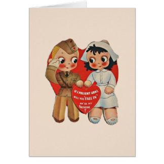 Carte de voeux vintage de Valentine de soldat et