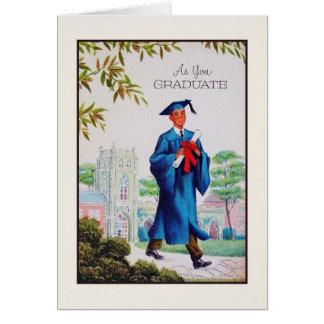 Carte de voeux vintage d'obtention du diplôme