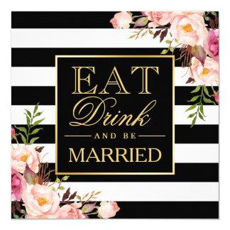 Carte Deco floral MANGENT la boisson et soient B&W