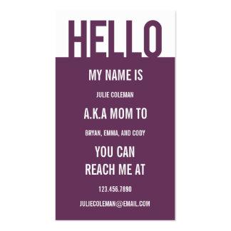 Carte décontractée/télécarte de maman de bonjour carte de visite