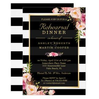 Carte Décor floral d'or vintage de dîner de répétition