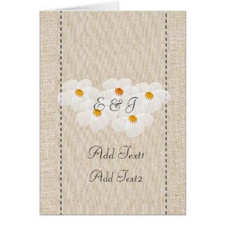 Carte décorée d'un monogramme d'anémones florales