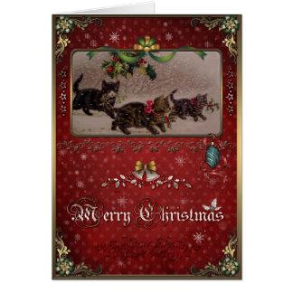 Carte d'élégance de Noël, chats de Noël et houx