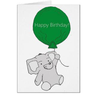 Carte d'éléphant de joyeux anniversaire
