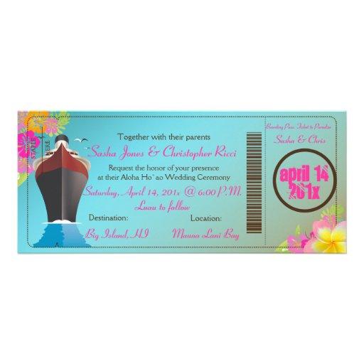 Carte d'embarquement/bateau de l'amour de carton d'invitation 10,16 cm x 23,49 cm | Zazzle