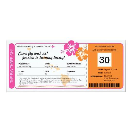Carte d'embarquement d'anniversaire d'Hawaï Carton D'invitation 10,16 Cm X 23,49 Cm | Zazzle
