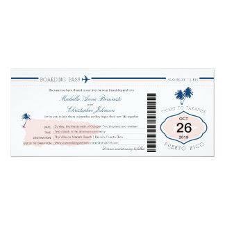Carte d'embarquement de mariage de palmier de carton d'invitation  10,16 cm x 23,49 cm