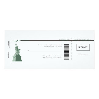 Carte d'embarquement de New York épousant RSVP Invitation