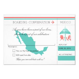 Carte d'embarquement de RSVP VERS le Mexique Carton D'invitation 8,89 Cm X 12,70 Cm
