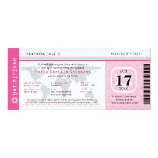 Carte d'embarquement rose de voyageur du monde de carton d'invitation  10,16 cm x 23,49 cm