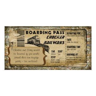 Carte d'embarquement vintage de train photocartes