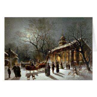 Carte démodée d'église de Noël