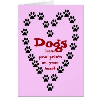 Carte d'empreintes de pattes de congé de chiens