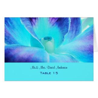Carte d'endroit de mariage d'orchidée bleue