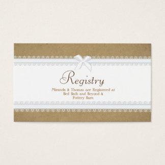 Carte d'enregistrement de mariage de dentelle de