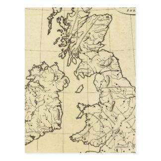Carte d'ensemble d'îles britanniques cartes postales