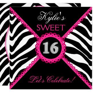 Carte Dentelle Bling de rose de sweet sixteen de zèbre