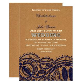 Carte Dentelle de marine et mariage de papier