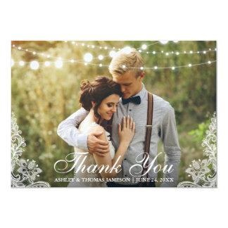 Carte Dentelle de Merci de mariage et photo de lumières
