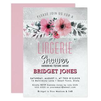 Carte Dentelle florale de douche de lingerie d'aquarelle