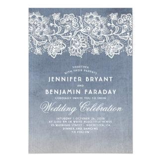 Carte Dentelle florale vintage - mariage bleu