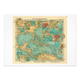 Carte des Antilles à partir de 1906 en allemand Invitation