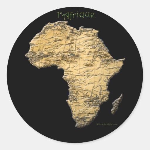 Carte des autocollants continents foncés d'art de