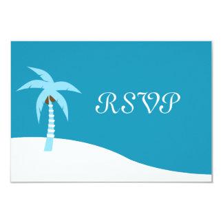Carte des Caraïbes bleue du palmier RSVP Carton D'invitation 8,89 Cm X 12,70 Cm
