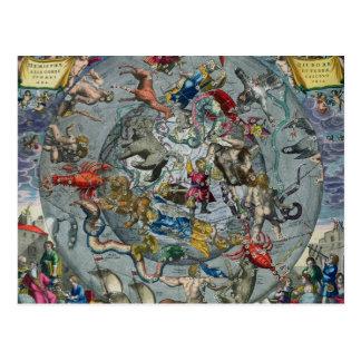 Carte des constellations du du nord carte postale