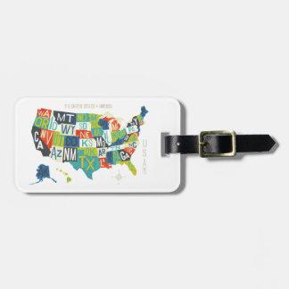Carte des Etats-Unis d'impression typographique Étiquette Pour Bagages