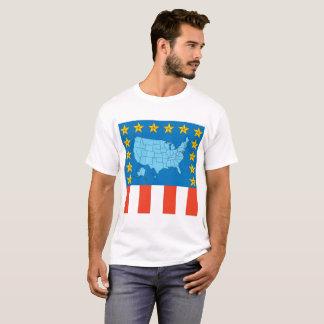 Carte des Etats-Unis, étoiles et T-shirt de