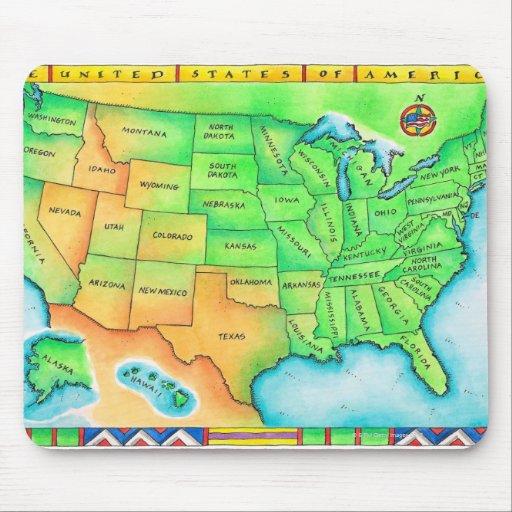 Carte Des Etats Unis Tapis De Souris Zazzle