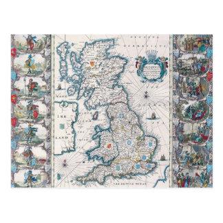 Carte des îles britanniques 2 cartes postales