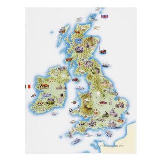 Carte des îles britanniques carte postale