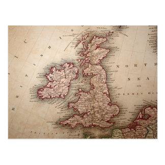 Carte des îles britanniques cartes postales