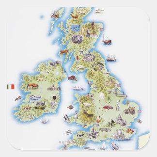 Carte des îles britanniques sticker carré