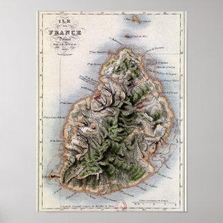 Carte des Îles Maurice, illustration 'Paul et Virg Poster