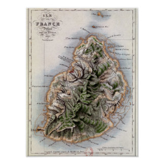 Carte des Îles Maurice, illustration 'Paul et Virg Posters
