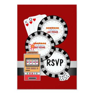 Carte des jetons de poker RSVP de Las Vegas Carton D'invitation 8,89 Cm X 12,70 Cm