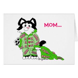Carte des pyjamas du chat du jour de mère