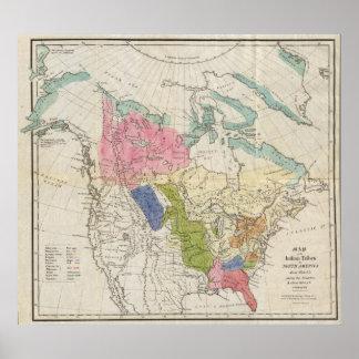 Carte des tribus indiennes de l'Amérique du Nord Affiche