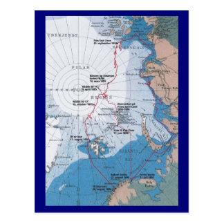 Carte des voyages de Nansen