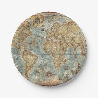 Carte dessinée par antiquité vintage du monde de assiettes en papier