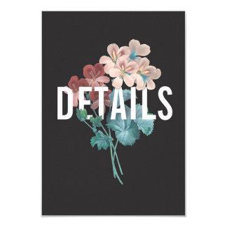 Carte détail botanique de mariage d'étreinte