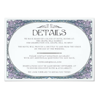 Carte détail colorée de mariage de Nouveau d'art Carton D'invitation 8,89 Cm X 12,70 Cm