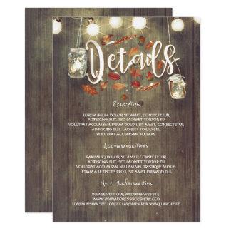 Carte détail de mariage de automne