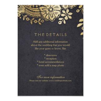Carte détail élégante noire de mariage de dentelle carton d'invitation  11,43 cm x 15,87 cm