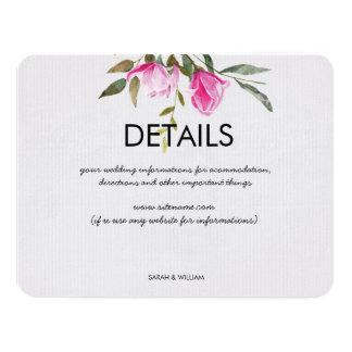 Carte détail florale de mariage d'aquarelle de