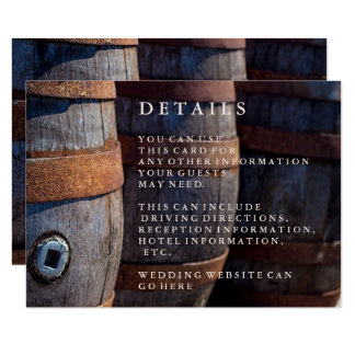 Carte détail rustique de baril de vin de vignoble carton d'invitation 8,89 cm x 12,70 cm
